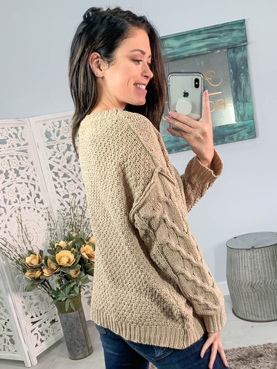 Love Me Fast Knitted Textured Sweater in Khaki - Filly Flair