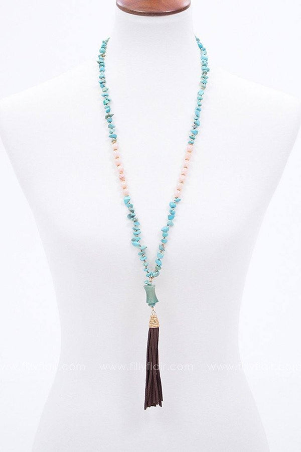 Well Centered Beaded Tassel Necklace