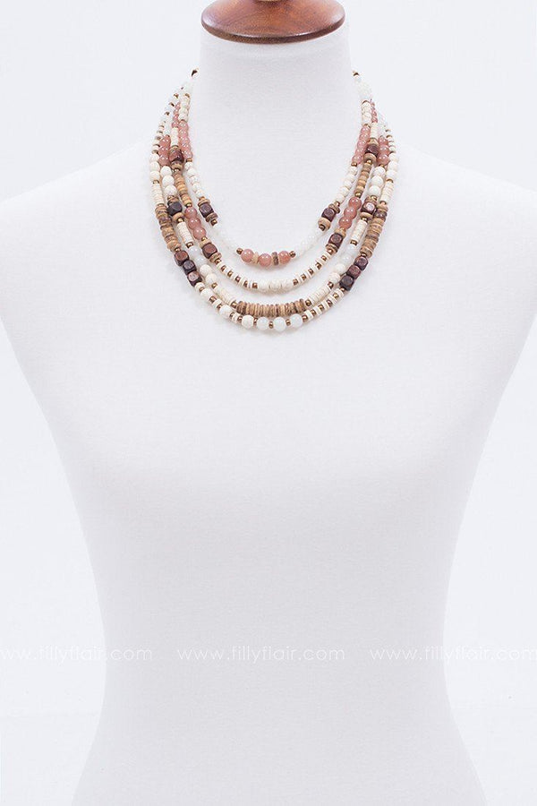 Island Ways Beaded Necklace in Tan