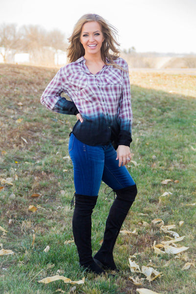 Empower Me Long Sleeve Plaid Shirt With Ombre Dip Dye - Filly Flair