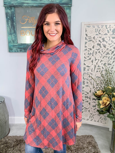Stay Positive Plaid Cowl Neck Dress Long Sleeve in Navy Red - Filly Flair