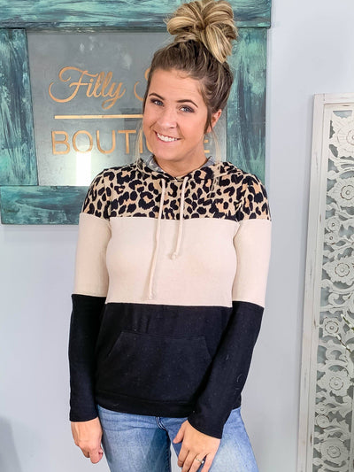 I Choose Happiness Color Block Leopard Sweatshirt Hood Pocket in Beige Black - Filly Flair