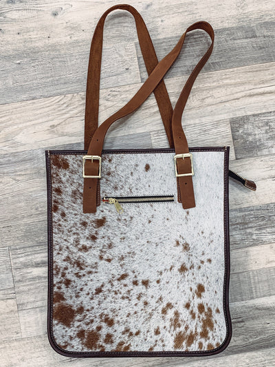 Hair On Hide Italian Leather Purse in Brown White Short Hair Cow Hide - Filly Flair