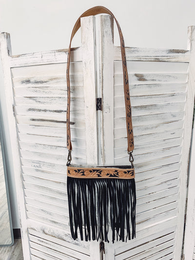 Come Back To Me Black White Hair On Hide Fringe Cross Body Purse #2 - Filly Flair