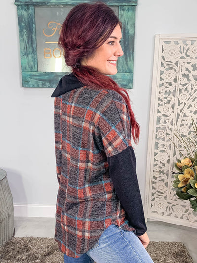 Deeper Roots Plaid Sweater Long Sleeve Dolman Style Collar Detail in Black Red - Filly Flair