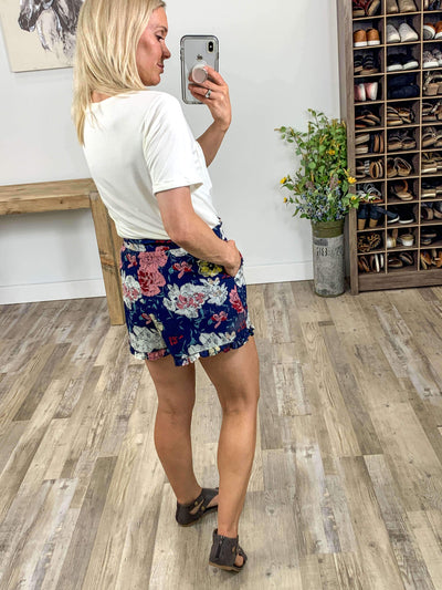 Find Amusing Floral Ruffle Hem Elastic Waist Shorts in Navy - Filly Flair