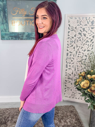 Always With You Open Short Cardigan With Pockets in Orchid - Filly Flair