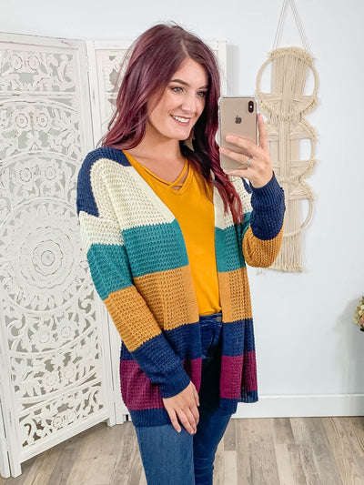 Wash Away Your Fears Color Block Cardigan Sweater in Navy - Filly Flair