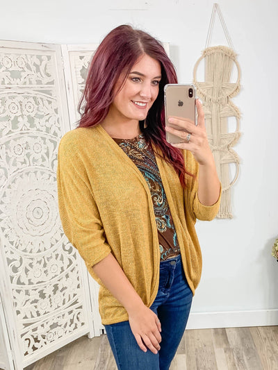 Everything To Me 3/4 Sleeve Dolman Cardigan in Mustard. - Filly Flair