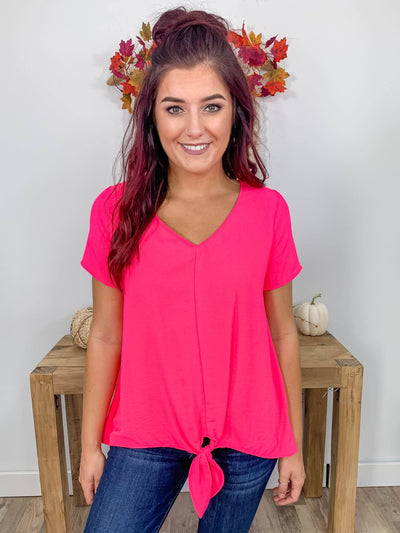 The Concept Of Love V Neck Front Tie Tee in Hot Pink - Filly Flair