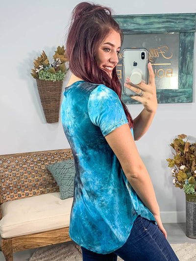 It's A Mystery Tie Dye Short Sleeve V Neck Top in Blue. - Filly Flair