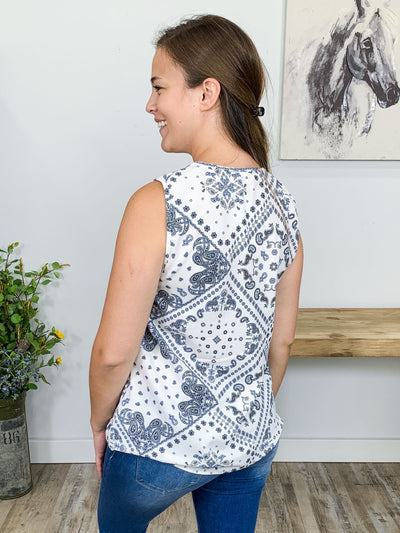Better Off Gone Sleeveless Paisley V-Neck Top in White - Filly Flair