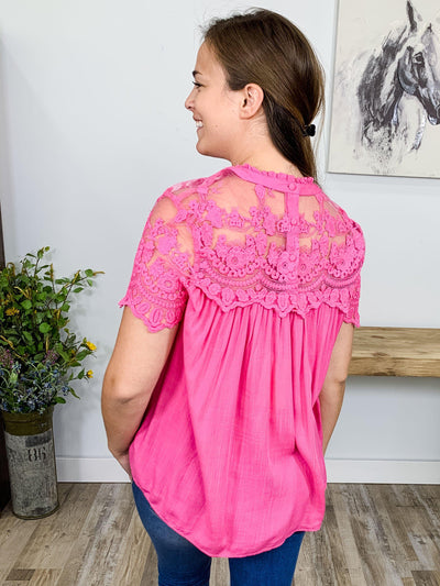 Follow Your Heart Short Sleeve Lace Embroidered Top in Pink - Filly Flair