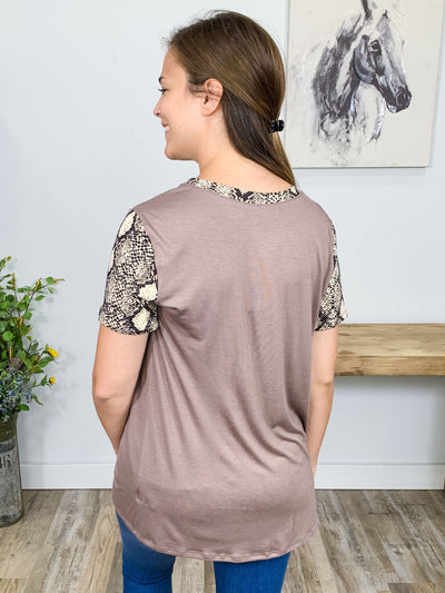Wait Your Turn Short Sleeve Snakeskin Pocket Top in Mocha - Filly Flair