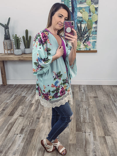 Held You Hand Floral Ivory Crochet Lace Hem Kimono in Mint - Filly Flair