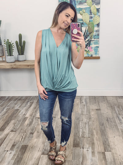 Just Let It Be Sleeveless Gathered Hem V-Neck Top in Robin's Egg Blue - Filly Flair