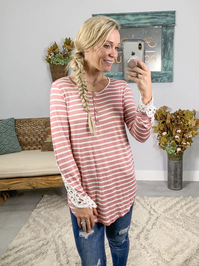 Never Turn Away Striped Crochet Long Sleeve Top in Mauve - Filly Flair