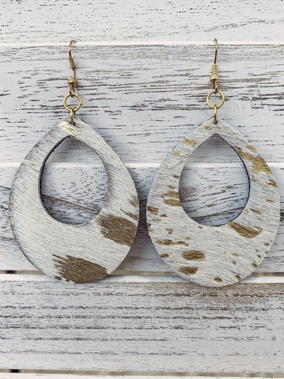 Life Is Complete Hair Hide Open Teardrop Leather Earrings in Ivory Gold - Filly Flair