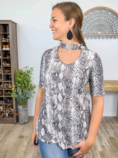 Only Today Snakeskin Key Hole Short Sleeve Top in Grey - Filly Flair
