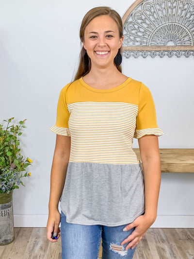 Moving Mountains Color Block With Stripes Short Sleeve Top In Mustard - Filly Flair