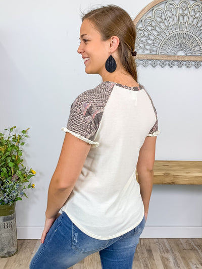 A Moment In Time Snakeskin Contrast Short Sleeve Top in Cream - Filly Flair