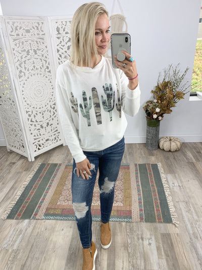 But I Like It Camo Cactus Long Sleeve Super Soft Sweater in Porcelain White - Filly Flair