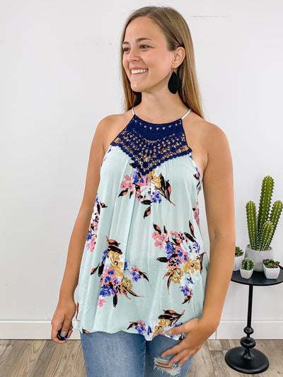 Be Still Sleeveless Floral Printed with Navy Crochet Detailing Top in Mint - Filly Flair