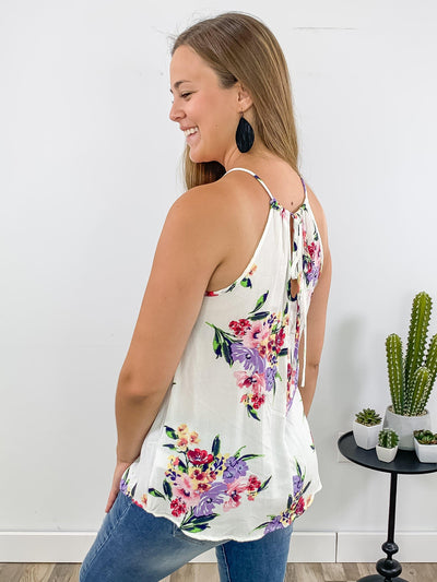 Be Still Sleeveless Floral Printed with Coral Crochet Detailing Top in White - Filly Flair
