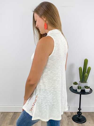 Desert Dreams Ribbed Aztec Print Sleeveless High Neck Top in Ivory - Filly Flair