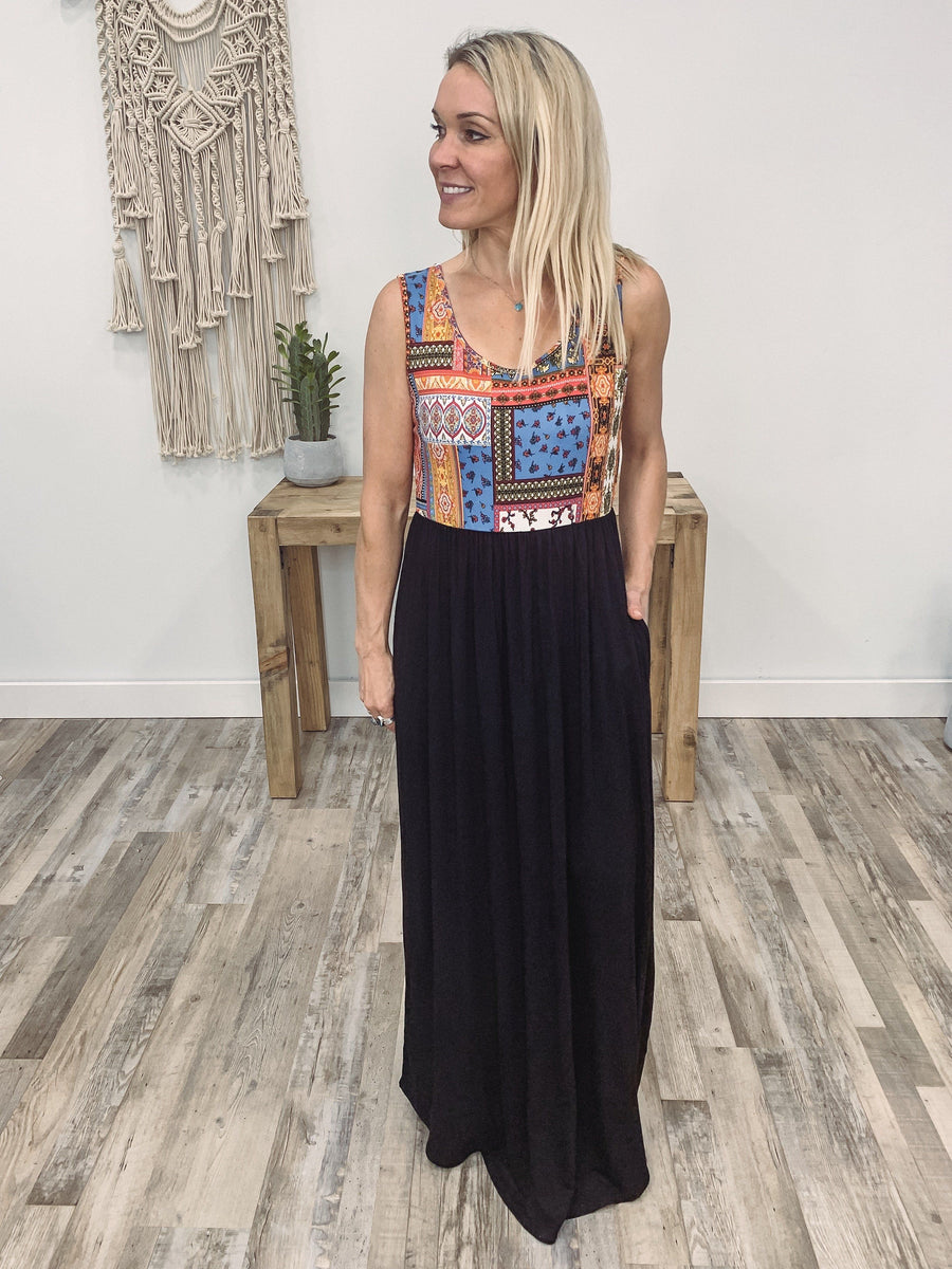 519394f1cb Keep Going Sleeveless Multi-Colored Printed Pocket Maxi Dress in Black