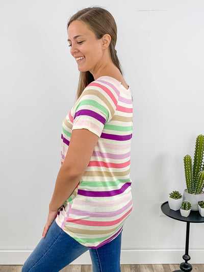 Carrying On Multi Color Striped Short Sleeve Top in Oatmeal - Filly Flair