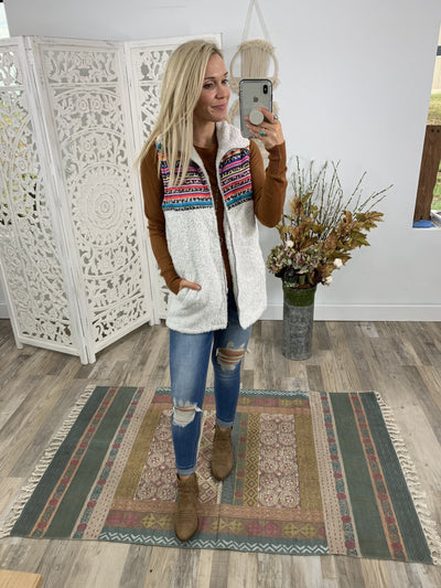 The Story Of My Life Leopard Aztec Stripe Sleeveless Fur Vest Zip Up Pockets in Off White - Filly Flair
