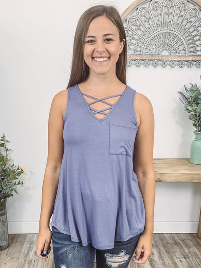 Find Your Way Criss Cross Pocket Tank Top in Purple Slate - Filly Flair