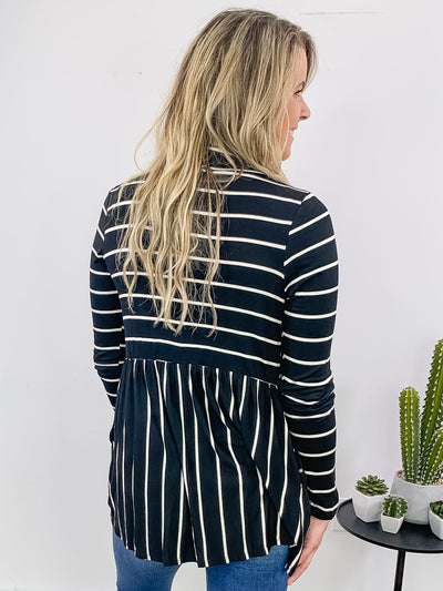 She's Got It Basic Striped Long Sleeve Cardigan in Black - Filly Flair