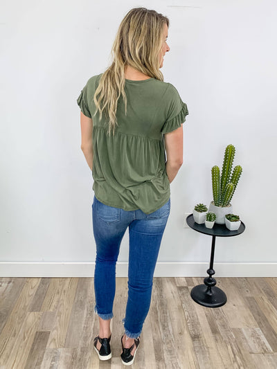 The First Day Flowing Short Sleeve Babydoll Top in Olive - Filly Flair