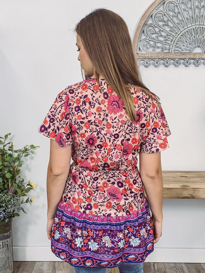 If You're Ever Cross Over Tie Waist Printed Tunic in Purple Blush - Filly Flair