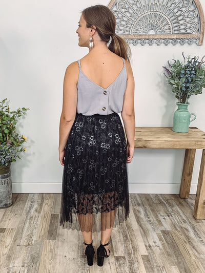 Easier For Me Floral Embroidered Lace Tulle Skirt in Silver Black - Filly Flair