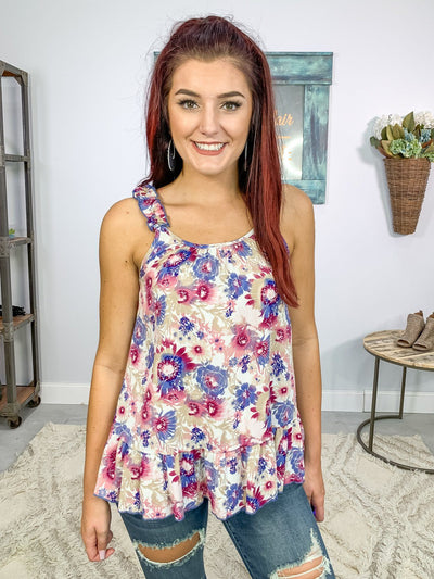 Remember The Days Floral Tank Top Ruffle Sleeveless in Lilac Mauve - Filly Flair