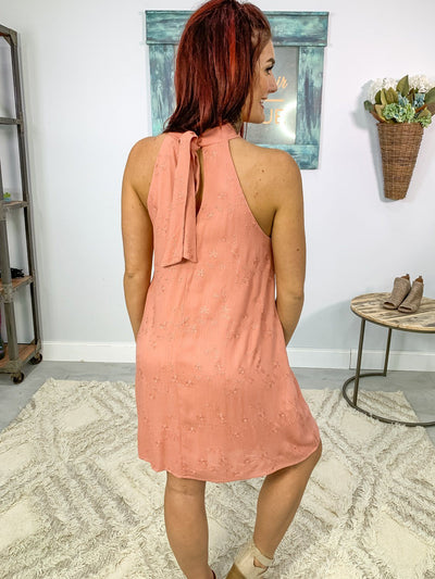 Thinking Out Loud Sleeveless Embroider Crepon Dress in Rose - Filly Flair