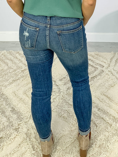 Jamie Judy Blue Medium Wash Mid Rise Destroyed Skinny Jeans - Filly Flair