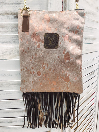 LV Rose Gold Dark Brown Fringe Cross Body Purse - Filly Flair