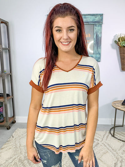 Crazy 'Bout You Striped Tee Shirt in Navy Coffee Light Pink - Filly Flair