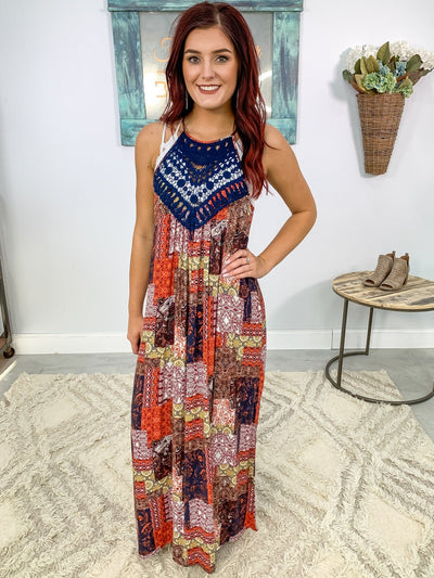 No Good At Goodbyes Printed Maxi Dress in Orange Navy Brown Yellow - Filly Flair