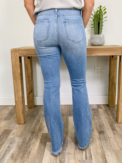 Callie Cello Light Wash High Rise Flare Jeans - Filly Flair