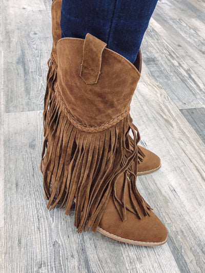 Saint 42 Fringe Western Boot in Brown - Filly Flair