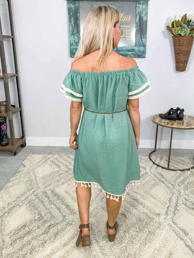 Meant To Be Off The Shoulder Embroidered Tassel Hem Dress in Sage - Filly Flair
