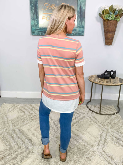 Tag Me Striped Rolled Short Sleeve Top in Dusty Pink Blue Yellow - Filly Flair