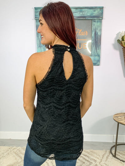 In The End Lace Sleeveless Tank Top Mock Neck in Black - Filly Flair