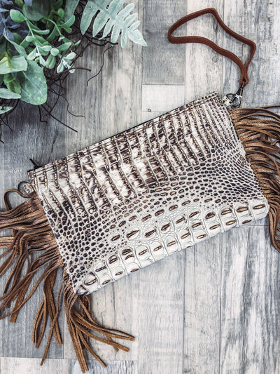 Guide Me Leather Fringe Gator Clutch in Tan White - Filly Flair