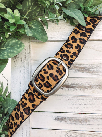 Let's Get Wild Leopard Matte Silver Buckle Genuine Leather Belt - Filly Flair